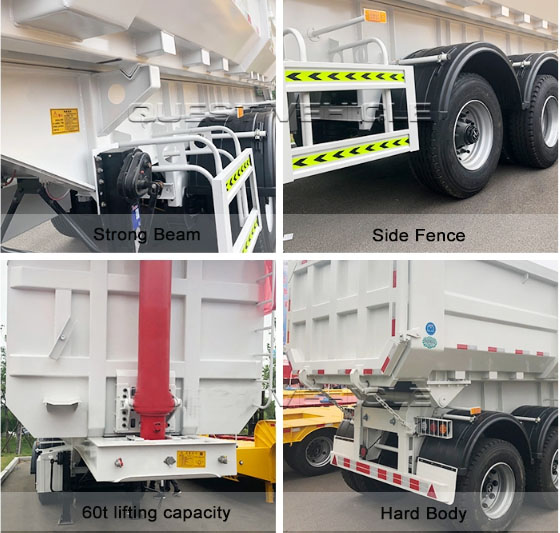 60tons 3 axles tipper semi-trailer